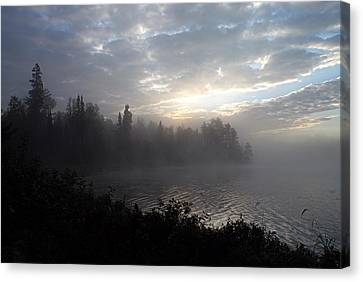 Misty Dawn On Boot Lake Canvas Print by Larry Ricker