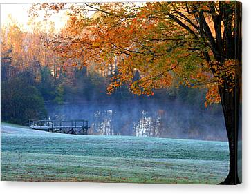 Misty Morning At The Lake Canvas Print