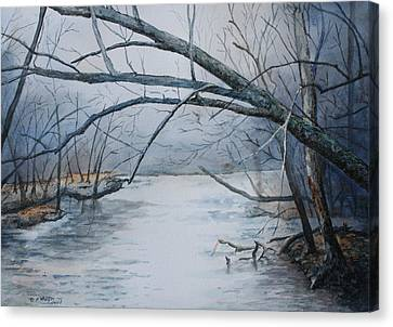 Misty Morning On The Red River Canvas Print by Patsy Sharpe