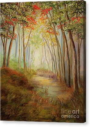 Misty Path Canvas Print by Vic  Mastis