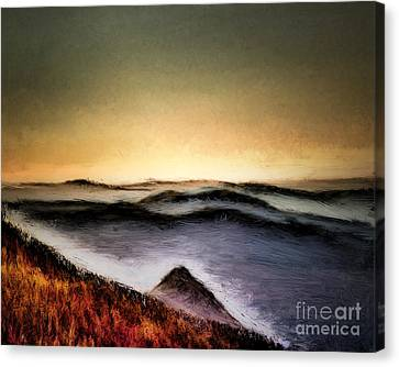 Misty Sunrise Canvas Print by Arne Hansen