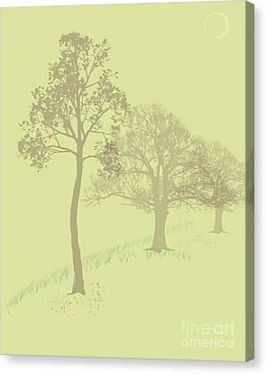 Misty Trees Canvas Print by Michelle Bergersen