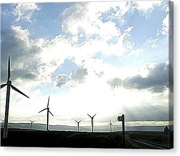 Misty Windmills Canvas Print by Rusty Woodward Gladdish