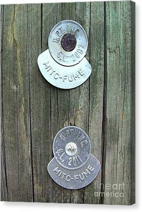 Canvas Print featuring the photograph Mitc Fume Tags On Light Pole by Renee Trenholm