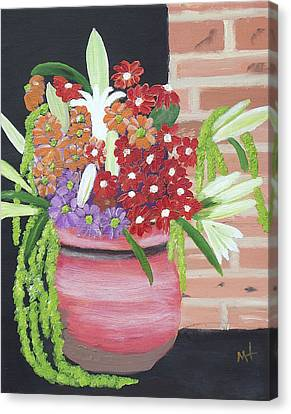 Canvas Print featuring the painting Mixed Flowers In Orange Crock by Margaret Harmon