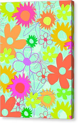 Mixed Flowers Canvas Print by Louisa Knight