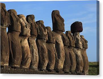 Moai Along The Coast Of Easter Island Canvas Print by Stephen Alvarez