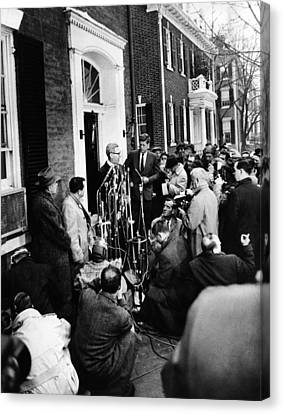 Americans Elect Canvas Print - Mob Scene Outside President-elect John by Everett