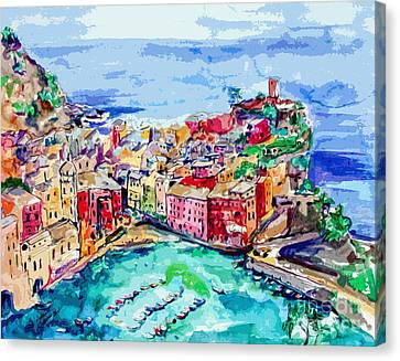 Modern Abstract Vernazza Italy Cinque Terre Canvas Print by Ginette Callaway