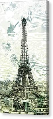 Modern Digital Art Digital Art Canvas Print - Modern-art Eiffel Tower 12 by Melanie Viola