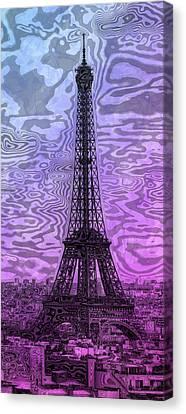 Modern Digital Art Digital Art Canvas Print - Modern-art Eiffel Tower 14 by Melanie Viola