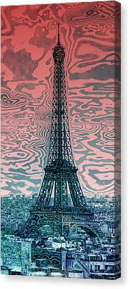 Modern Digital Art Digital Art Canvas Print - Modern-art Eiffel Tower 17 by Melanie Viola