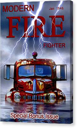 Modern Fire Fighter Canvas Print by Ron Jones