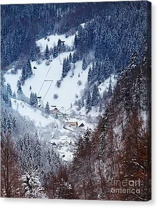 Moeciu Village In Winter Canvas Print by Gabriela Insuratelu
