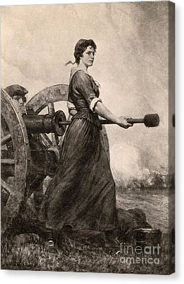 Molly Pitcher At The Battle Canvas Print by Photo Researchers