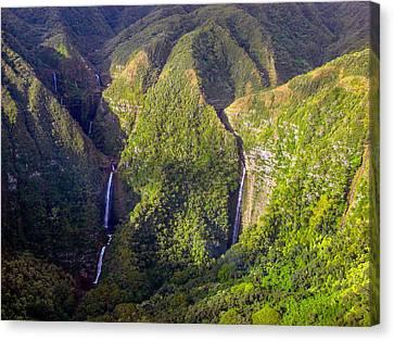 Molokai Hawaii Waterfalls Canvas Print by Scott McGuire