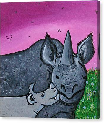 Momma And Baby Rhino Canvas Print by Jera Sky
