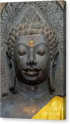 Mon Stone Buddha Head - Thailand Canvas Print by Craig Lovell