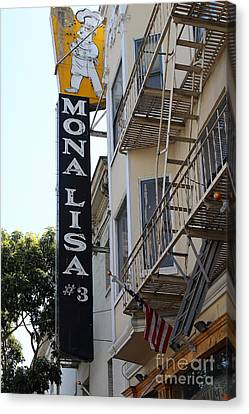 Mona Lisa Restaurant In North Beach San Francisco Canvas Print by Wingsdomain Art and Photography