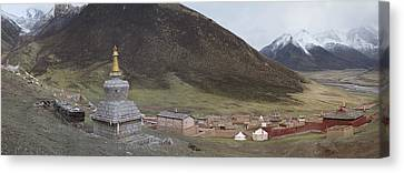 Monastery Buildings In Mountain Valley Canvas Print by Phil Borges