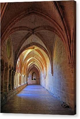 Canvas Print featuring the photograph Monastery Passageway by Dave Mills