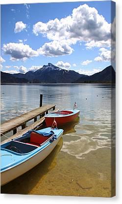 Mondsee Lake Boats Canvas Print by Lauri Novak