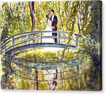 Canvas Print featuring the painting Monet Wedding by Clara Sue Beym