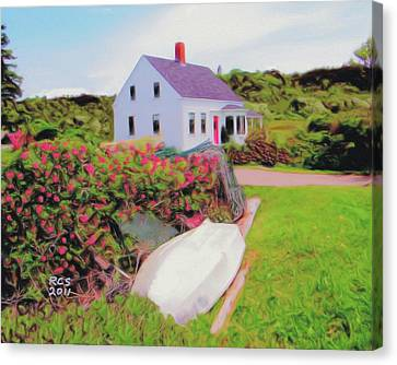 Monhegan Cottage Canvas Print by Richard Stevens