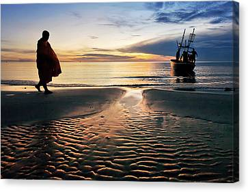 Monk Walk For Food On The Beach Canvas Print by Arthit Somsakul