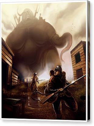 Canvas Print featuring the digital art Monster Attack by Michael Myers