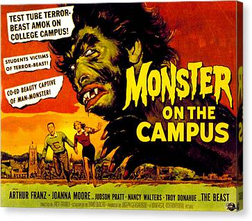 1950s Poster Art Canvas Print - Monster On The Campus, Arthur Franz by Everett