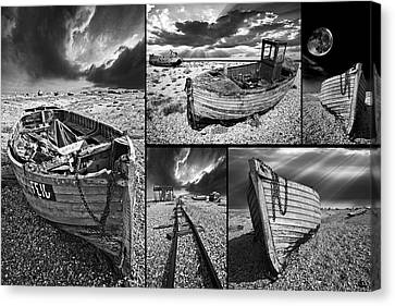 Montage Of Wrecked Boats Canvas Print by Meirion Matthias