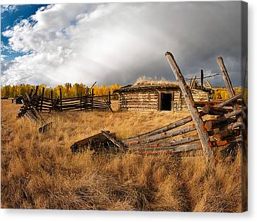 Old Cabins Canvas Print - Montana History by Leland D Howard