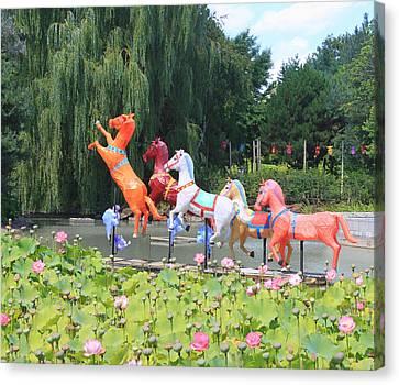 Montreal Botanical Gardens - Chinese Horses Canvas Print