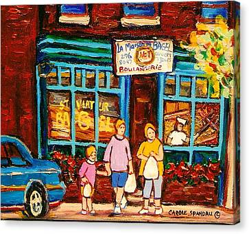 Montreal Landmarks Paintings The Bagel Shops Canvas Print by Carole Spandau