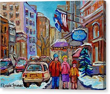 Montreal Street Scenes In Winter Canvas Print by Carole Spandau