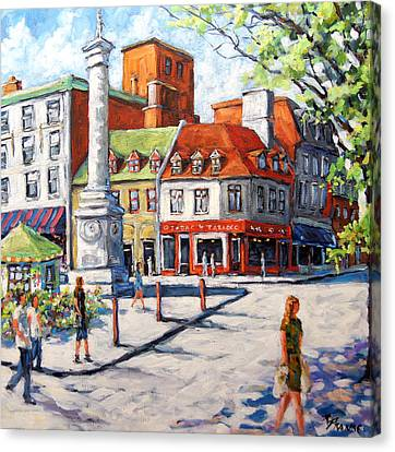 Montreal Street Urban Scene By Prankearts Canvas Print by Richard T Pranke