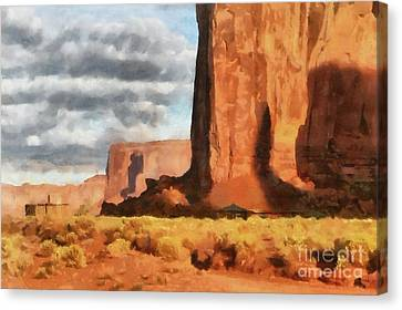 Monument Valley Hogans Canvas Print by Mary Warner