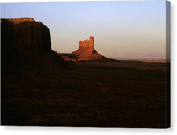 Monument Valley Mitten With Butte Canvas Print by John Brink