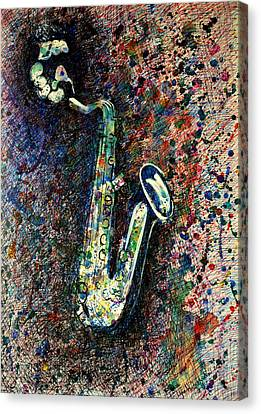 Canvas Print featuring the drawing Moody Sax by Lynn Hughes
