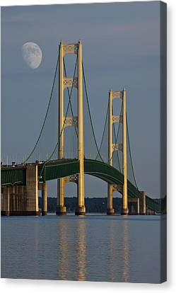 Moon And The Mackinaw Bridge By The Straits Of Mackinac Canvas Print by Randall Nyhof