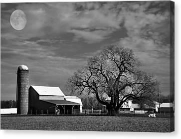 Moon Lit Farm Canvas Print by Todd Hostetter