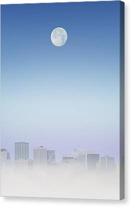 Silver Moonlight Canvas Print - Moon Over Buildings by Kelly Redinger