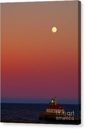 Duluth Canal Park Canal Park Lighthouse Lighthouse Lake Superior Minnesota Canvas Print - Moon Over Canal Park II by Jimmy Ostgard