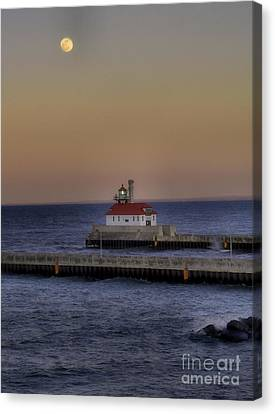 Moon Over Canal Park Canvas Print by Jimmy Ostgard