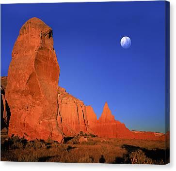 Moon Over Kodakchrome State Park Utah Canvas Print by Daniel Chui