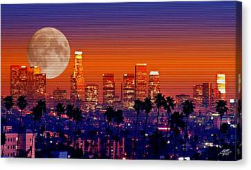 Moon Over Los Angeles Canvas Print by Steve Huang