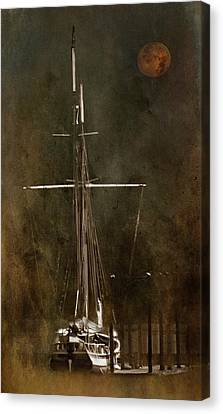 Moon Over Masts Canvas Print
