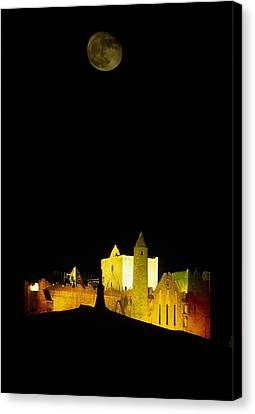 Moon Over Rock Of Cashel, Co Tipperary Canvas Print by The Irish Image Collection