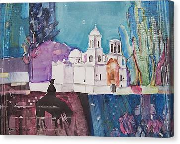 Moon Over The Mission Canvas Print by Regina Ammerman